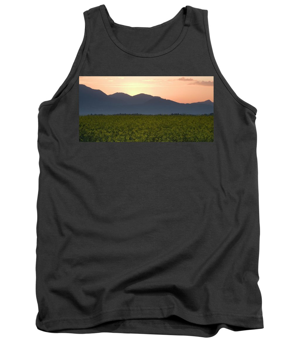 Brnik Tank Top featuring the photograph Sunrise Over The Kamnik Alps And Rapeseed by Ian Middleton