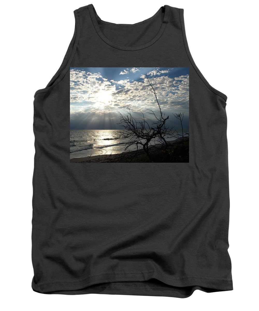 Morning; Sun; Rise; Sunrise; Sunset; Space; Coast; Melbourne; Beach; Florida; Shore; Rays; Fog; Mist Tank Top featuring the photograph Sunrise Prayer On The Beach by Allan Hughes