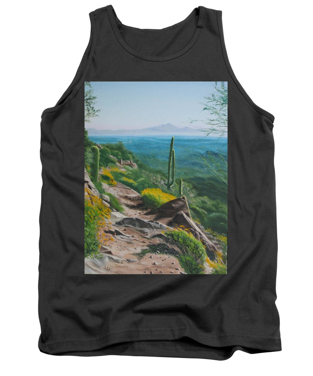 Landscape Tank Top featuring the painting Sunrise Trail by Lea Novak