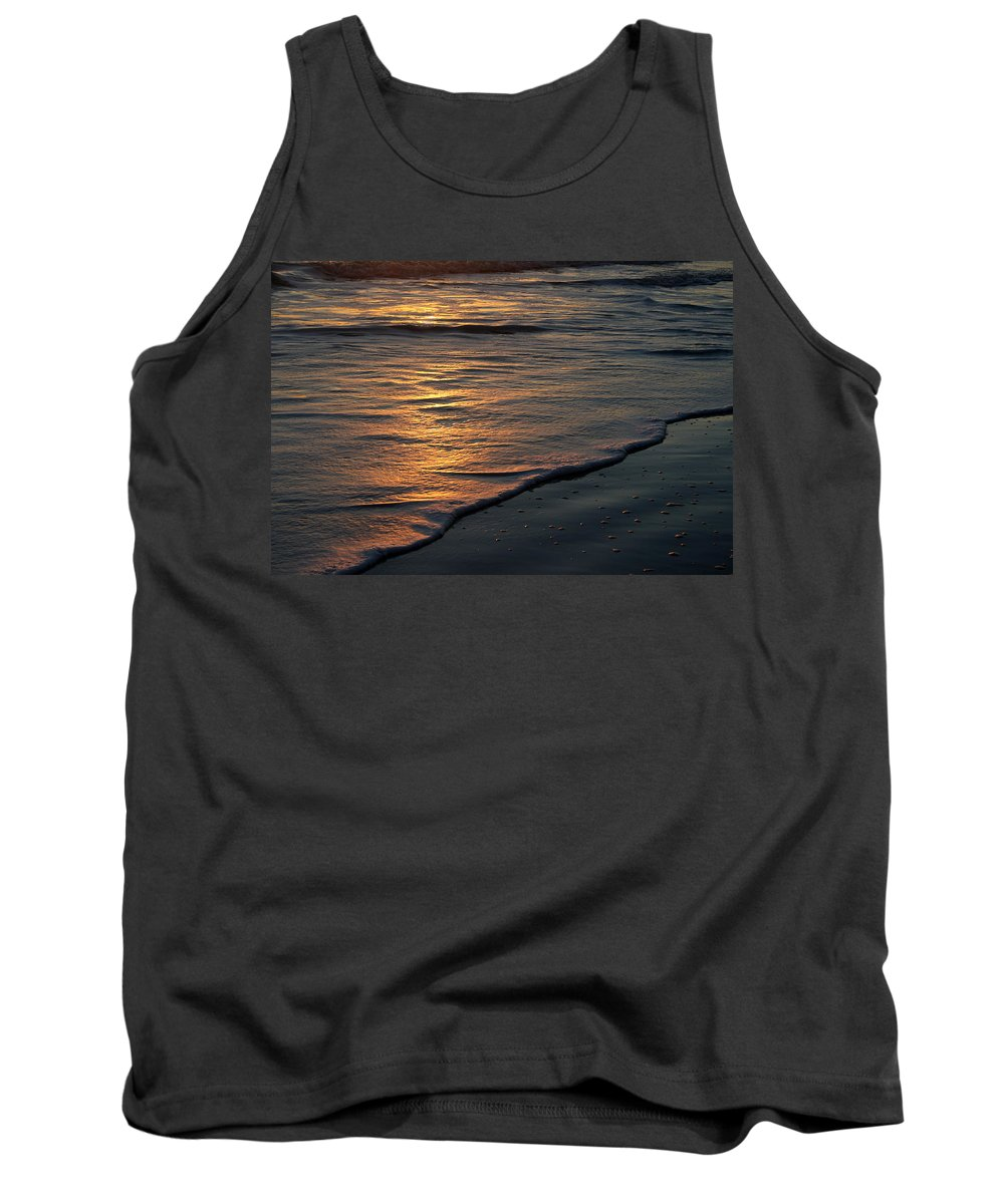 Ocean Beach Sun Sunrise Reflection Wave Tide Bright Orange Gold Water Vacation Tank Top featuring the photograph Sunrise Waves by Andrei Shliakhau