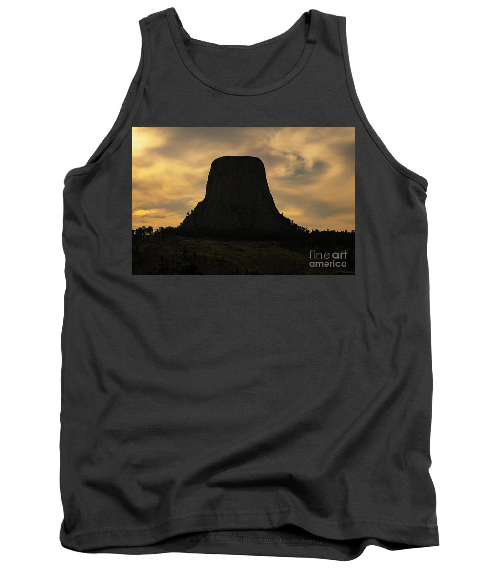 Devils Tower National Monument Tank Top featuring the photograph Sunset At Devils Tower by Bob Phillips