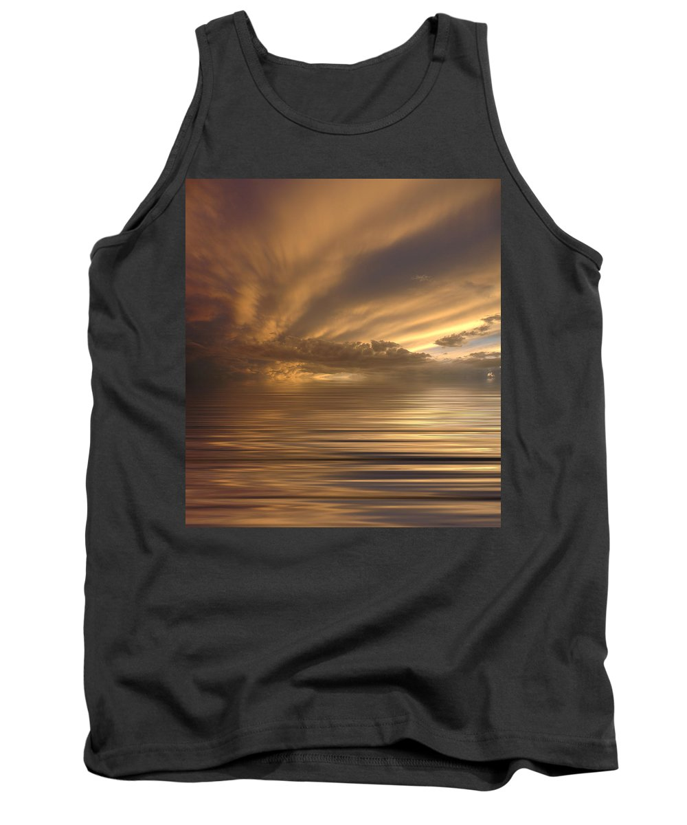 Sunset Tank Top featuring the photograph Sunset At Sea by Jerry McElroy