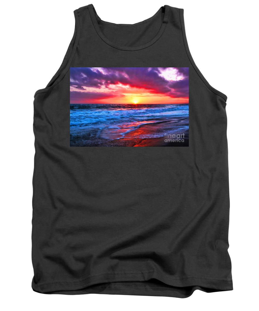 Sunset At The Strands Beach Tank Top featuring the photograph Sunset At Strands Beach by Mariola Bitner