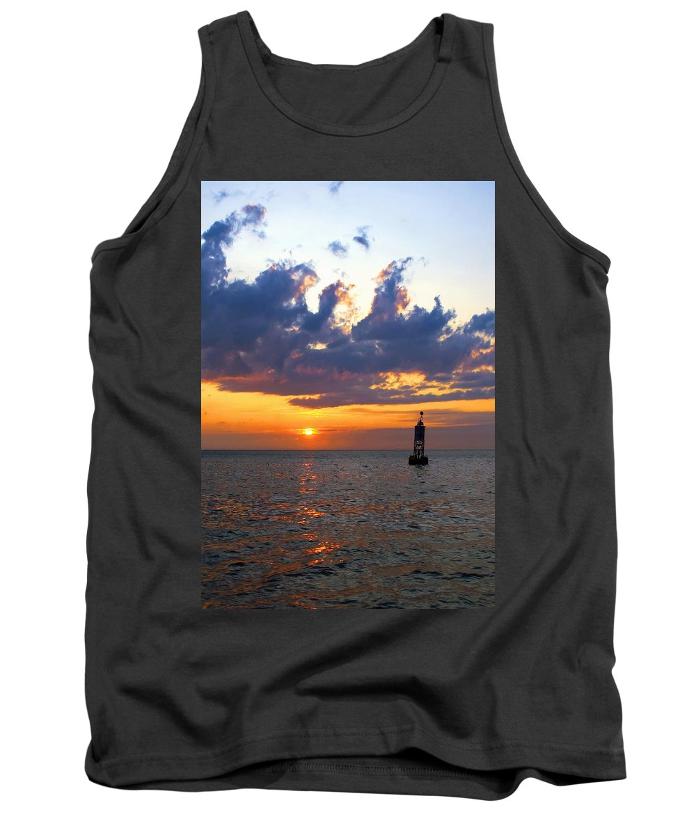 Bell Tank Top featuring the photograph Sunset At The Bell Buoy by Charles Harden