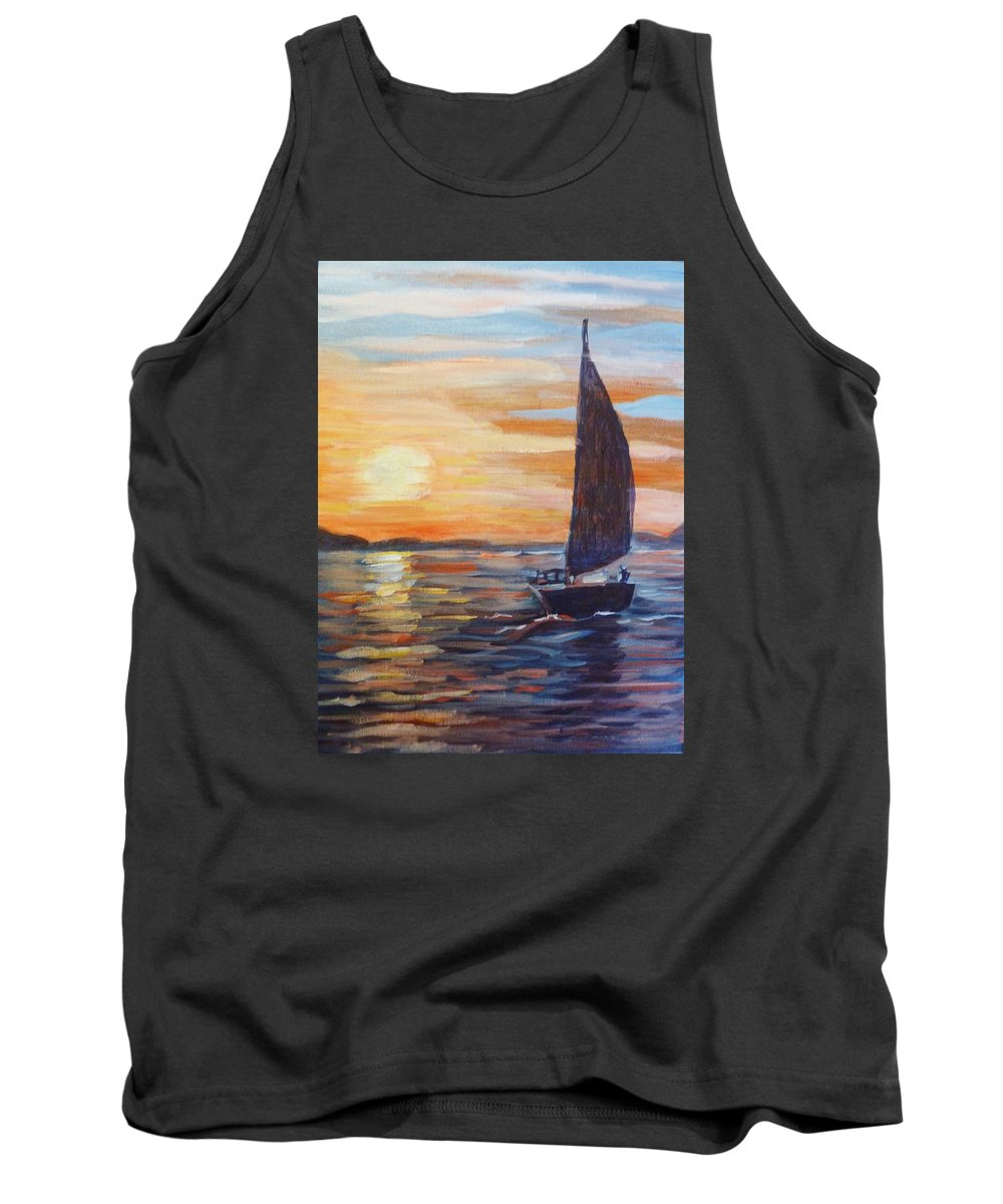 Sailing Tank Top featuring the painting Sunset Boat by Saga Sabin