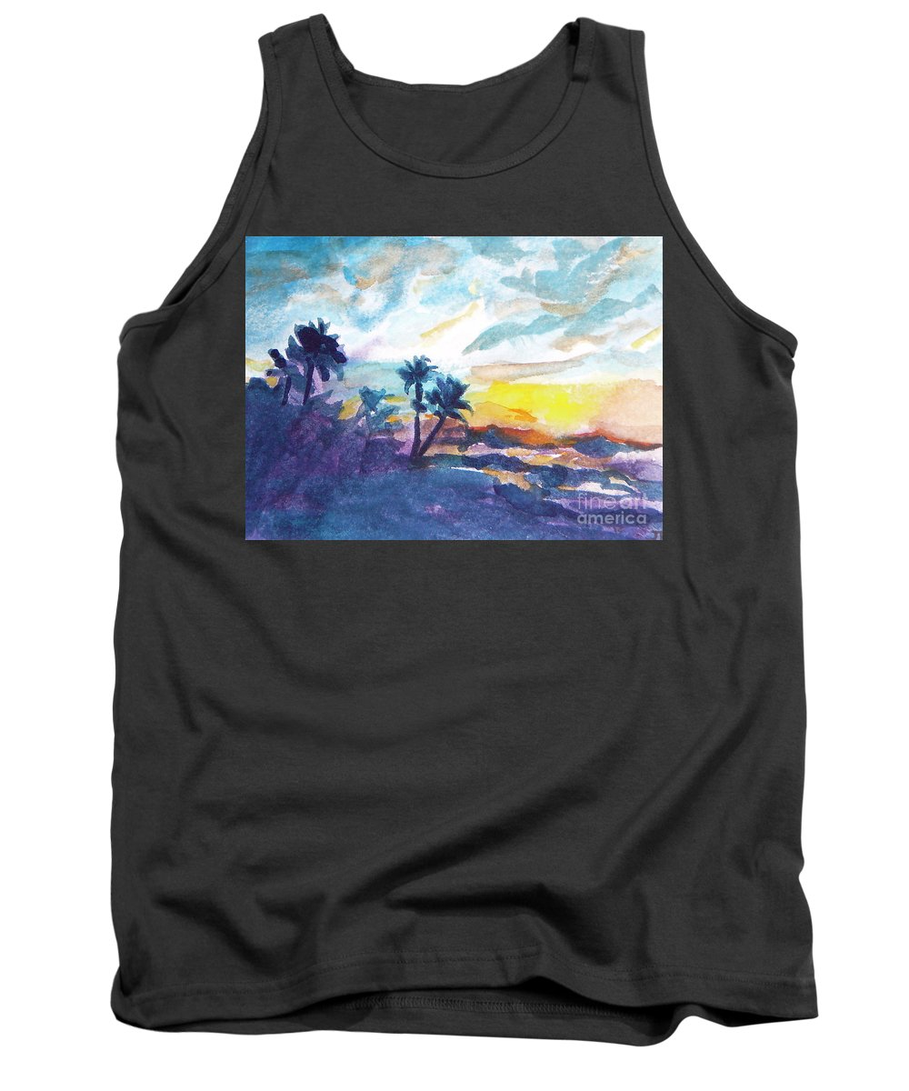 Landscape Tank Top featuring the painting Sunset In Hawaii by Jan Bennicoff