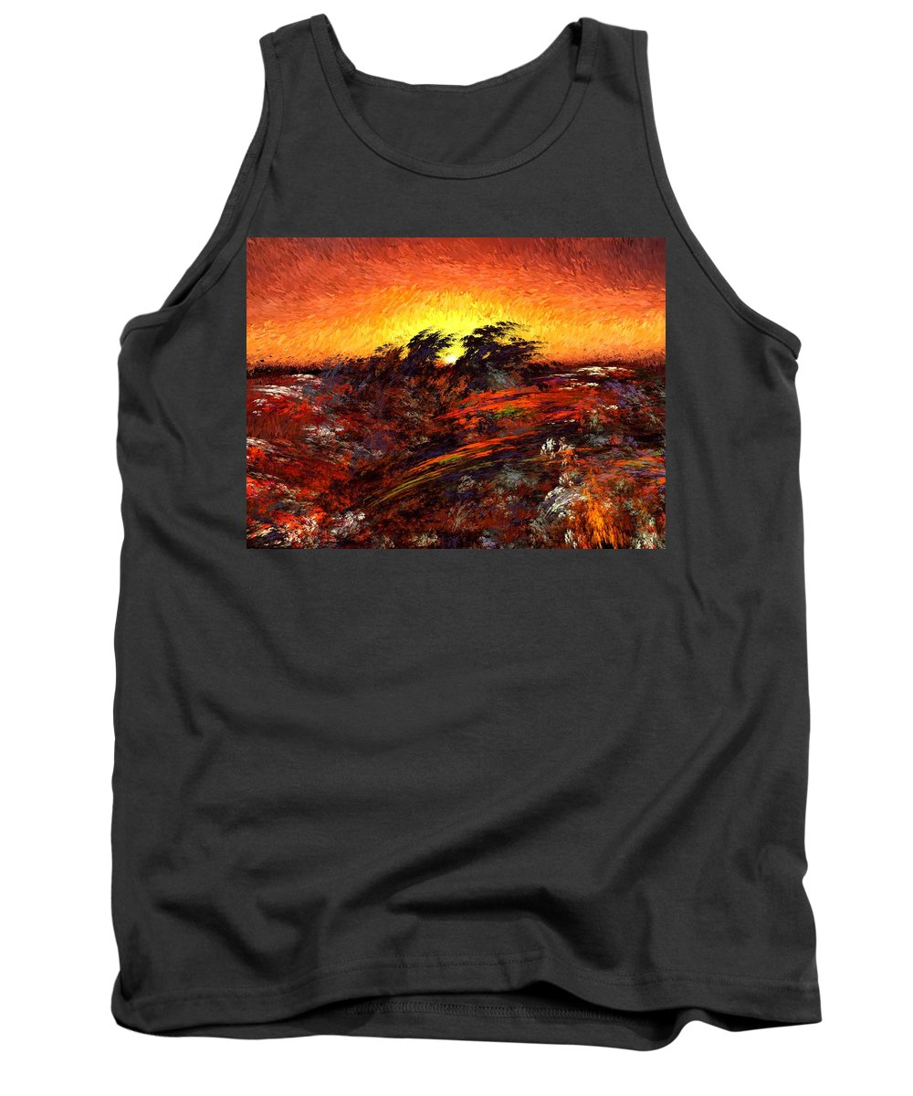 Abstract Digital Painting Tank Top featuring the digital art Sunset In Paradise by David Lane