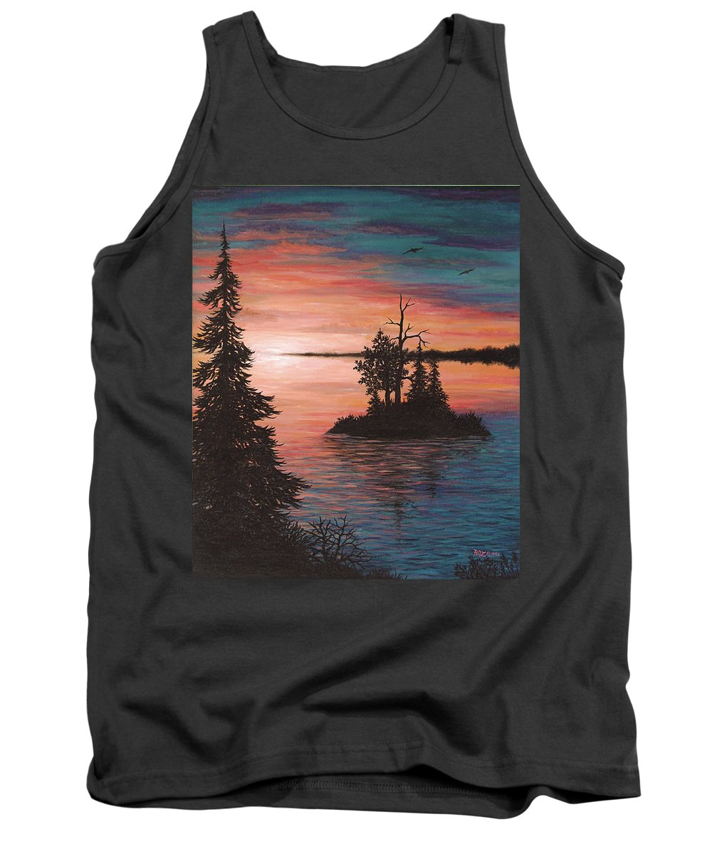 Sunset Tank Top featuring the painting Sunset Island by Roz Eve