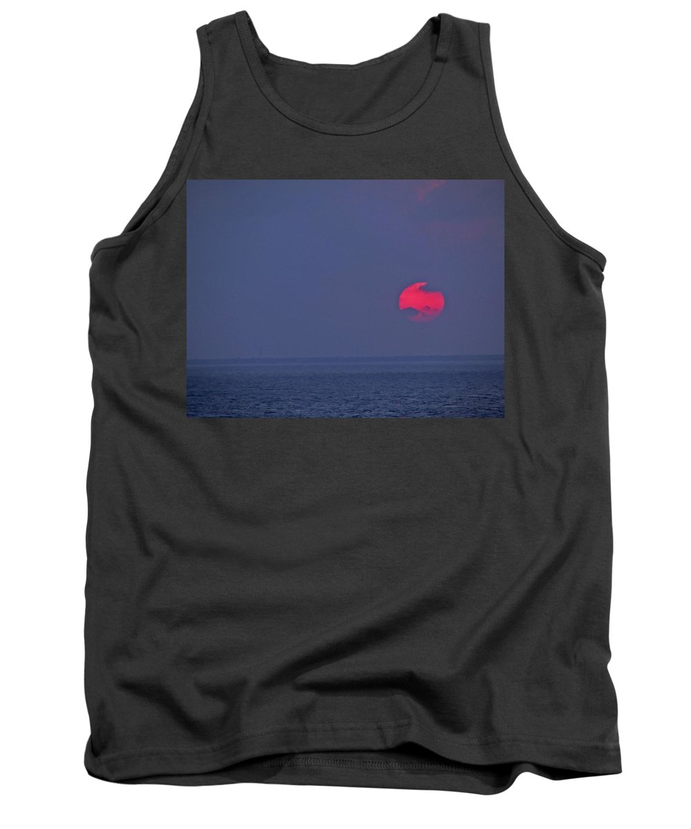 Sunset Tank Top featuring the photograph Sunset On A Hazy Day by Cathi Abbiss Crane