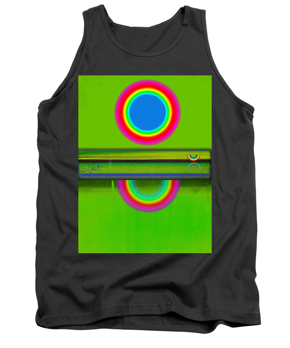 Reflections Tank Top featuring the painting Sunset On Green by Charles Stuart
