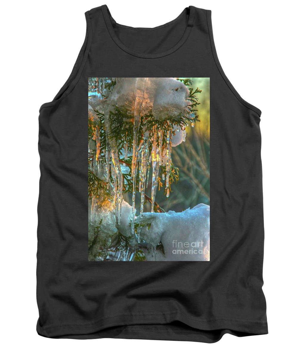 Sunset Tank Top featuring the photograph Sunset On Ice by Robert Pearson