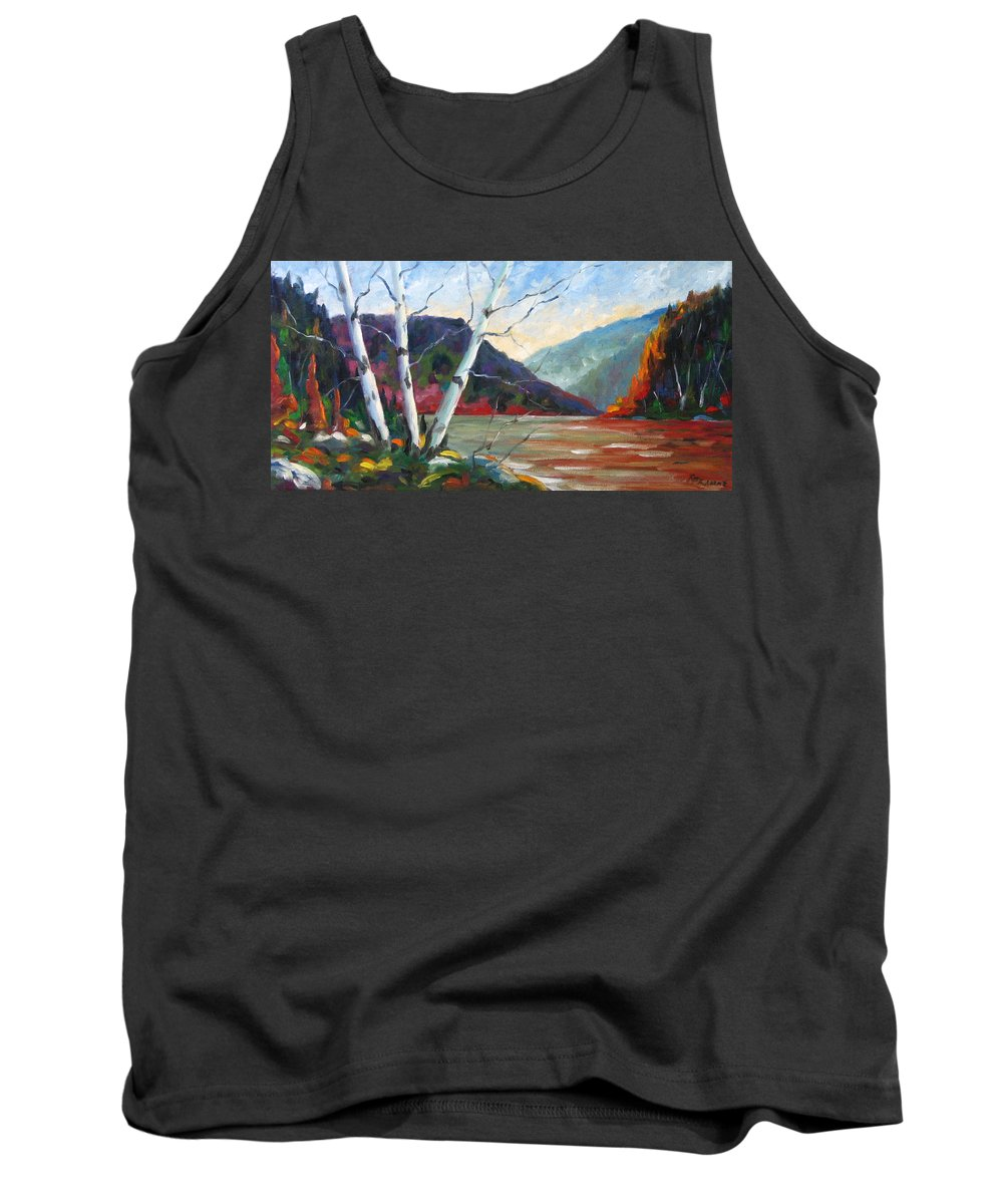 Landscape; Landscapes/scenic; Birches;sun;lake;pranke Tank Top featuring the painting Sunset On The Lake by Richard T Pranke