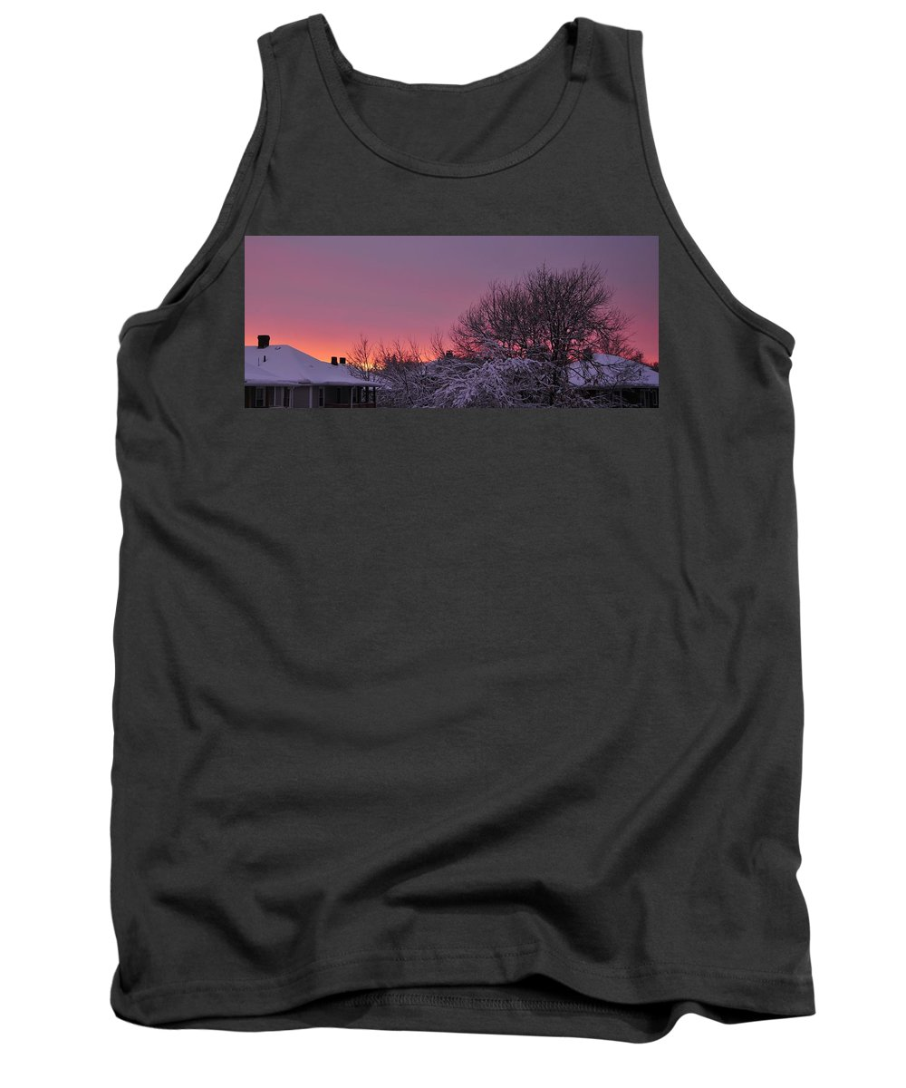 Sunset Over Fresh Snow Quincy Ma Tank Top featuring the photograph Sunset Over Fresh Snow by Bill Driscoll