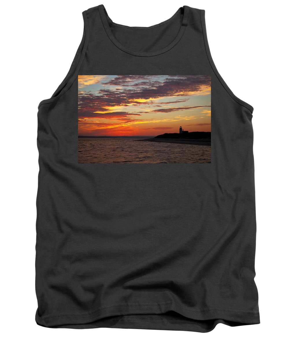 Sunset Tank Top featuring the photograph Sunset Over Sandy Neck Lighthouse by Charles Harden