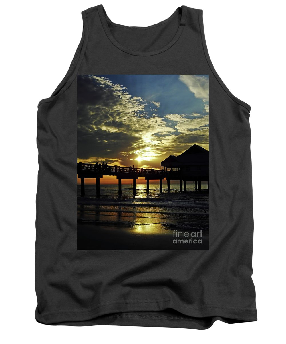 Sunset Tank Top featuring the photograph Sunset Pier Reflection by D Hackett