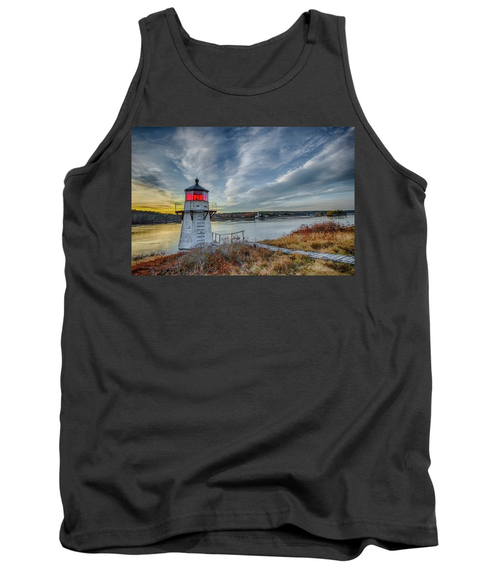 Lighthouse Tank Top featuring the photograph Sunset, Squirrel Point Lighthouse by Gary Shepard