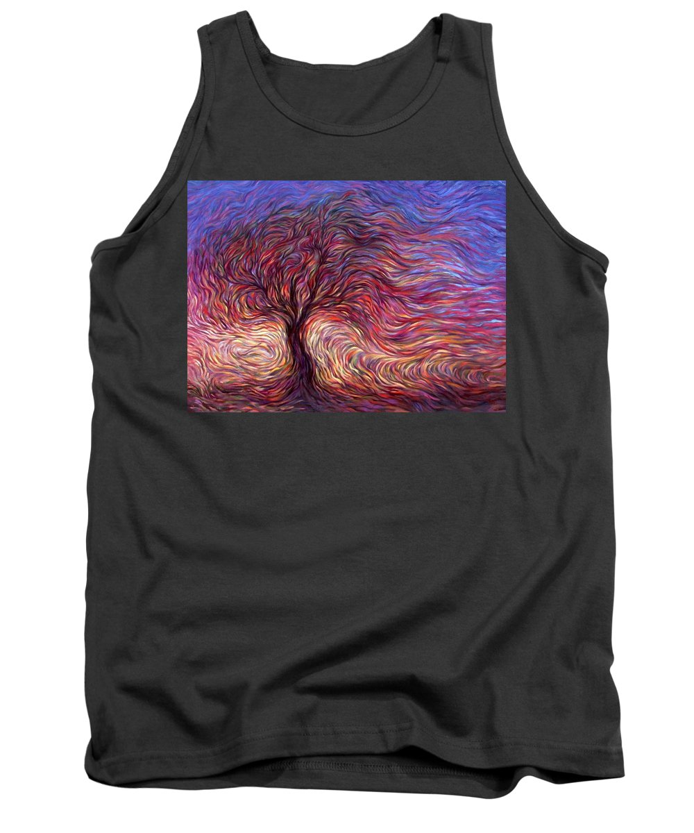 Tree Tank Top featuring the painting Sunset Tree by Hans Droog