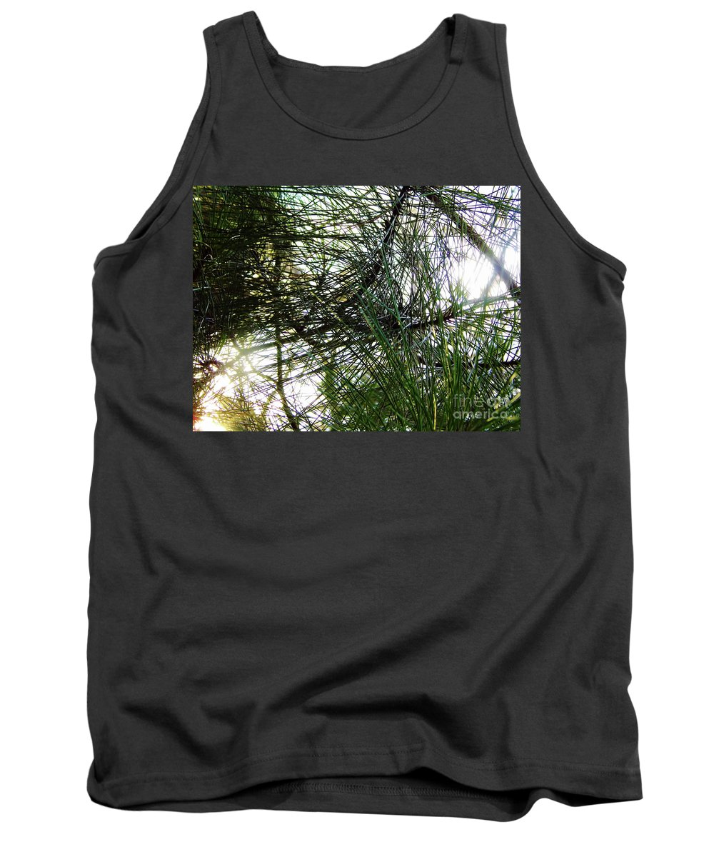 Sunrise Tank Top featuring the photograph Sunshine Through Pine Needles by D Hackett