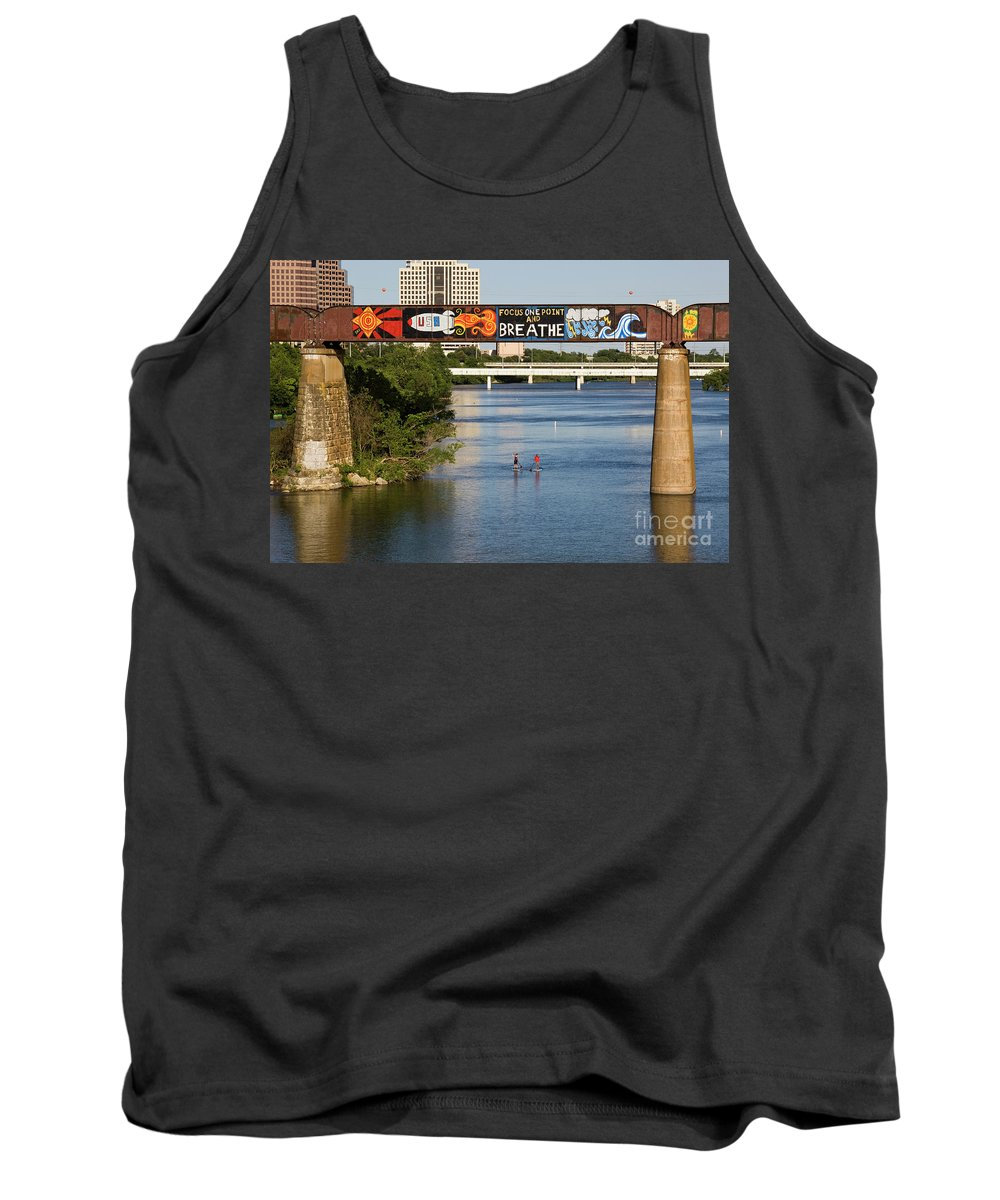 Focus One Point And Breathe Tank Top featuring the photograph Sup Stand Up Paddle Board Couple Row Under The Focus One Point And Breathe by Austin Welcome Center