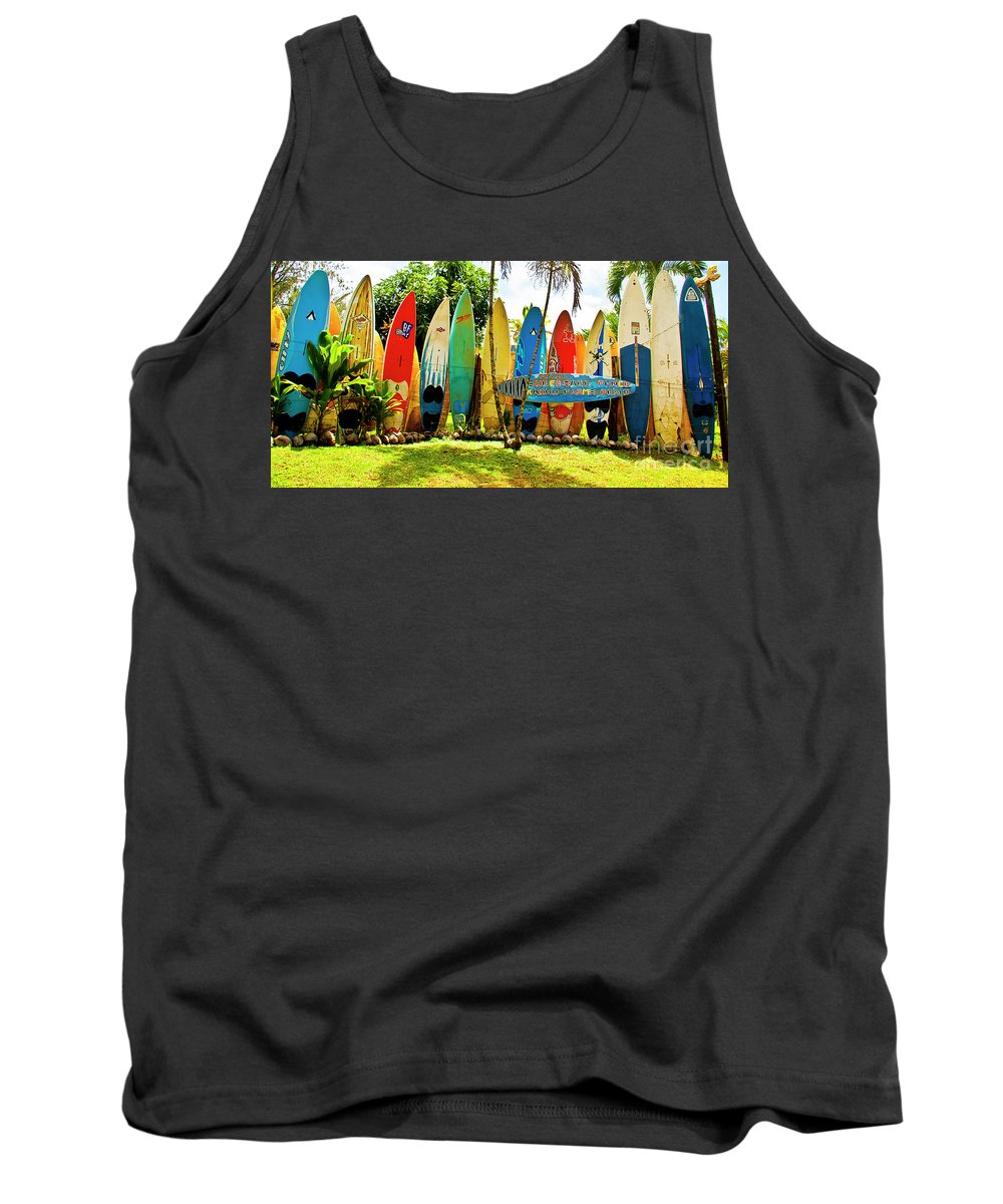 Surfboard Tank Top featuring the photograph Surfboard Fence II-the Amazing Race by Jim Cazel
