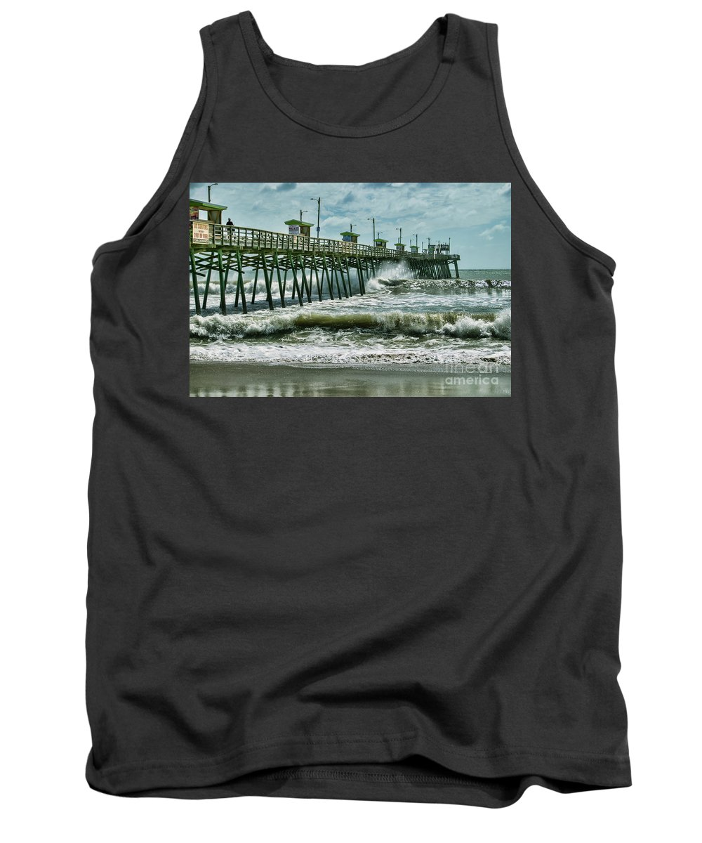 Ocean Tank Top featuring the photograph Surge Under The Pier by Kelley Freel-Ebner