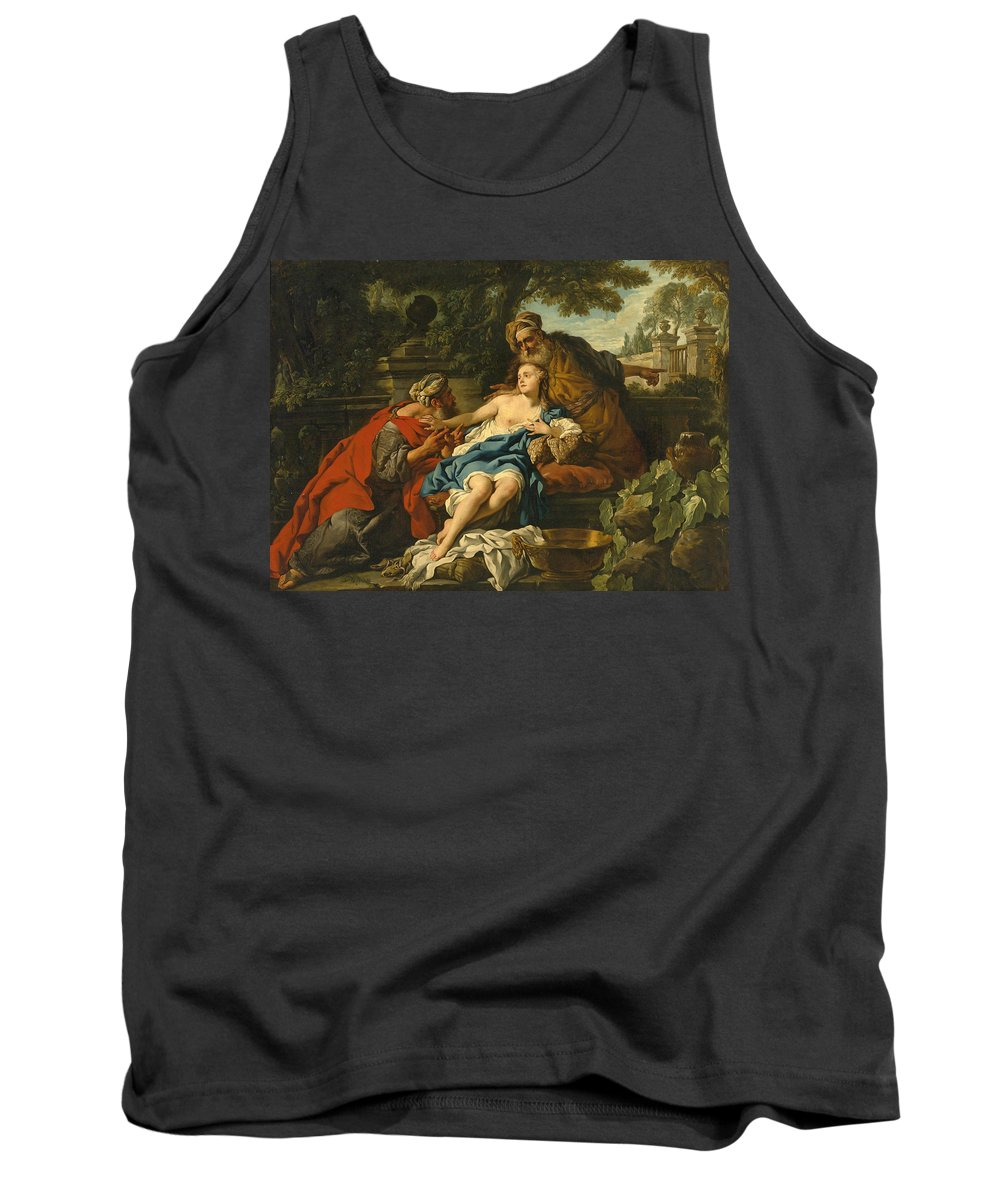 Studio Of Jean-francois Detroy Tank Top featuring the painting Susanna And The Elders by Studio of Jean-Francois Detroy