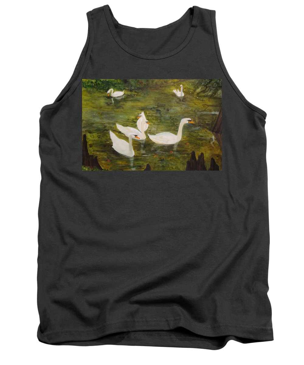 Swan Tank Top featuring the painting Swan Lake by Jean Blackmer