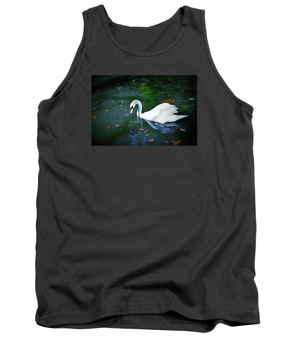 Swan Tank Top featuring the photograph Swan With Twig by Nancy Henley