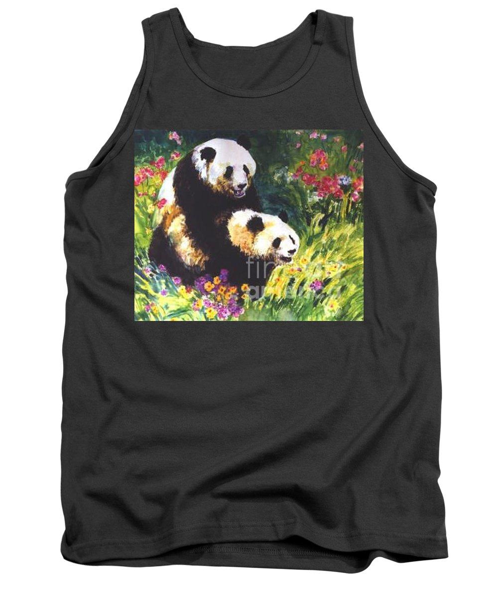 Panda Tank Top featuring the painting Sweet As Honey by Guanyu Shi