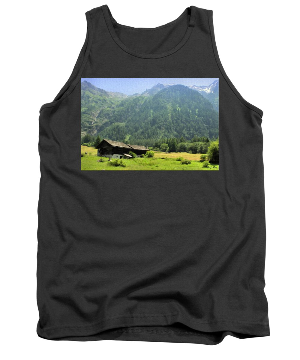 Switzerland Tank Top featuring the painting Swiss Mountain Home by Jeffrey Kolker