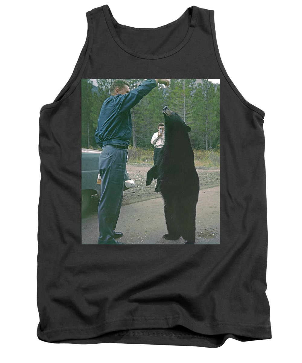 Bear Feeding Tank Top featuring the photograph T-203503 Bear Feeding In The Old Days by Ed Cooper Photography
