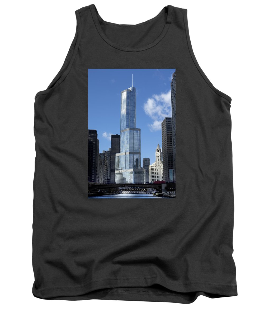 Chicago Tank Top featuring the photograph T Tower Chicago River by Daniel Hagerman