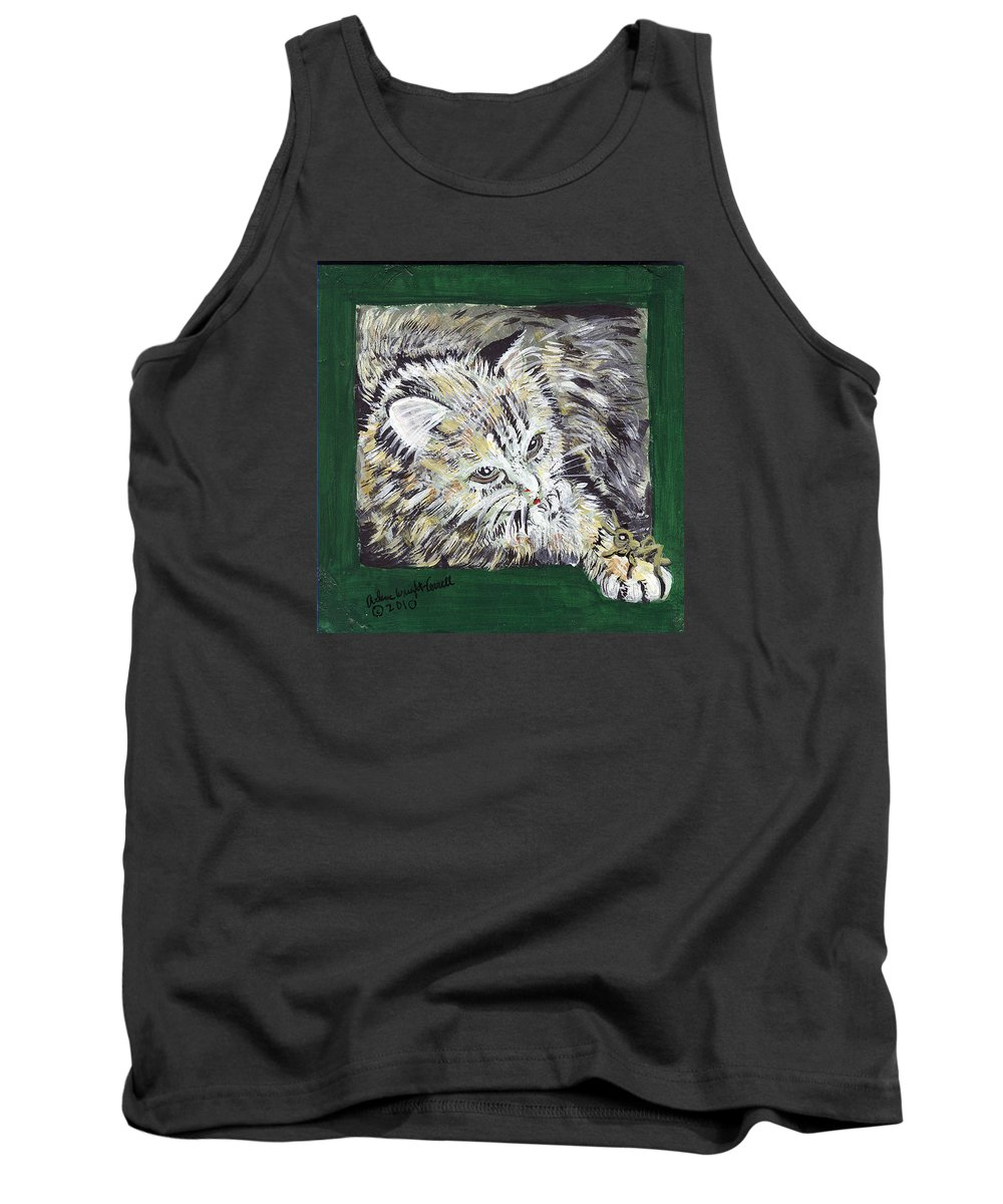 Cat Tank Top featuring the mixed media Tabby Cat With Cricket Trinket Box by Arlene Wright-Correll