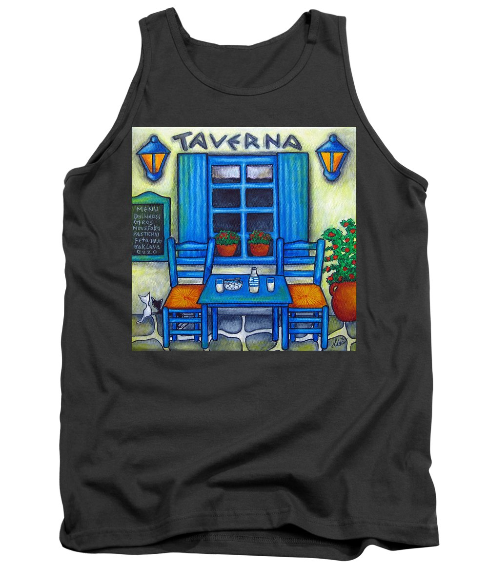 Blues Tank Top featuring the painting Table for Two in Greece by Lisa Lorenz