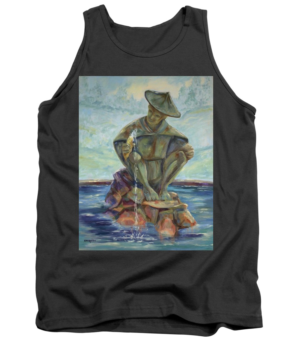 Landscape Tank Top featuring the painting Taipei Fountain by Ginger Concepcion