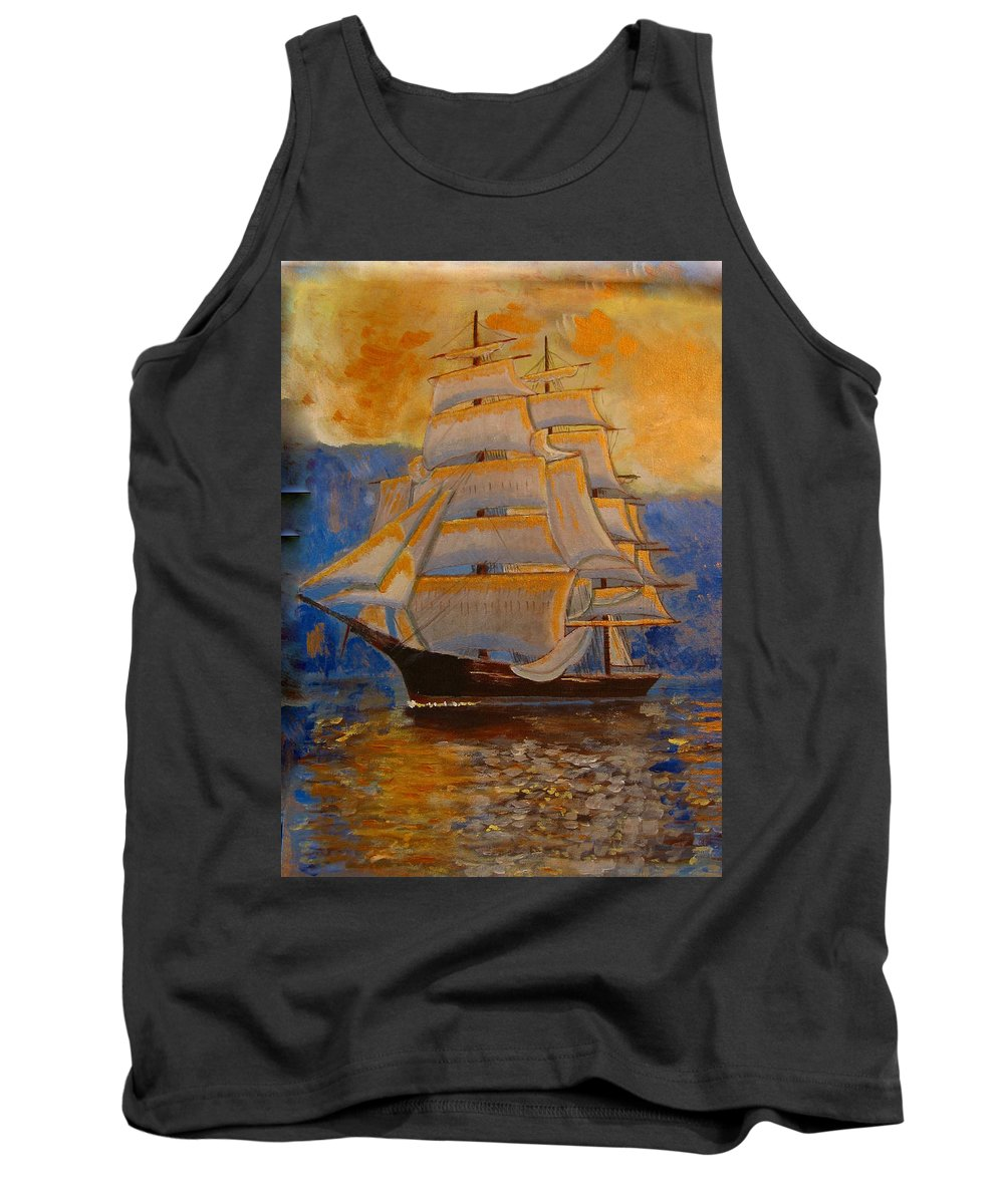 Tall Ship Tank Top featuring the painting Tall Ship In The Sunset by Richard Le Page