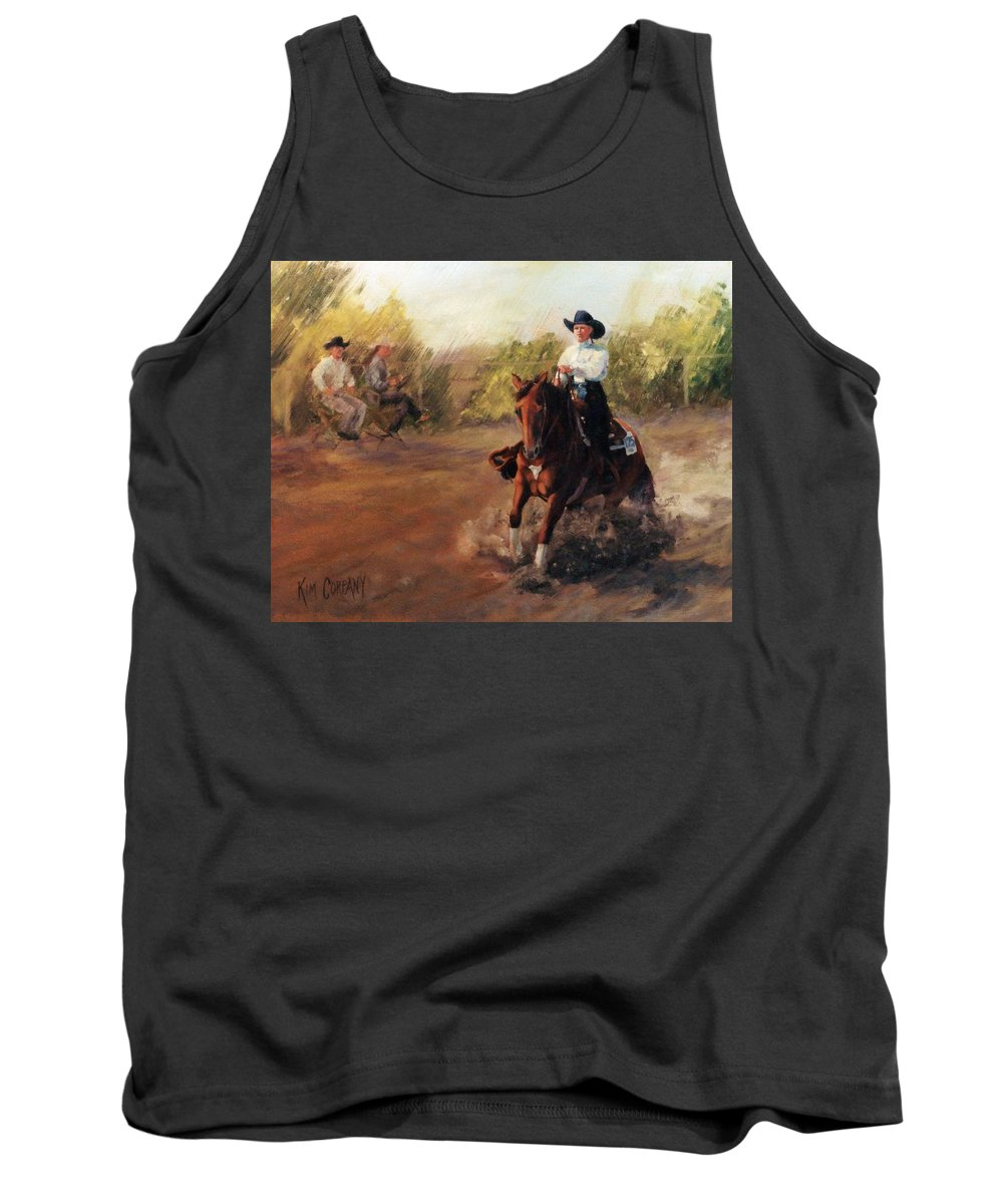 Horse Tank Top featuring the painting Tango Reining Horse Slide Stop Portrait Painting by Kim Corpany