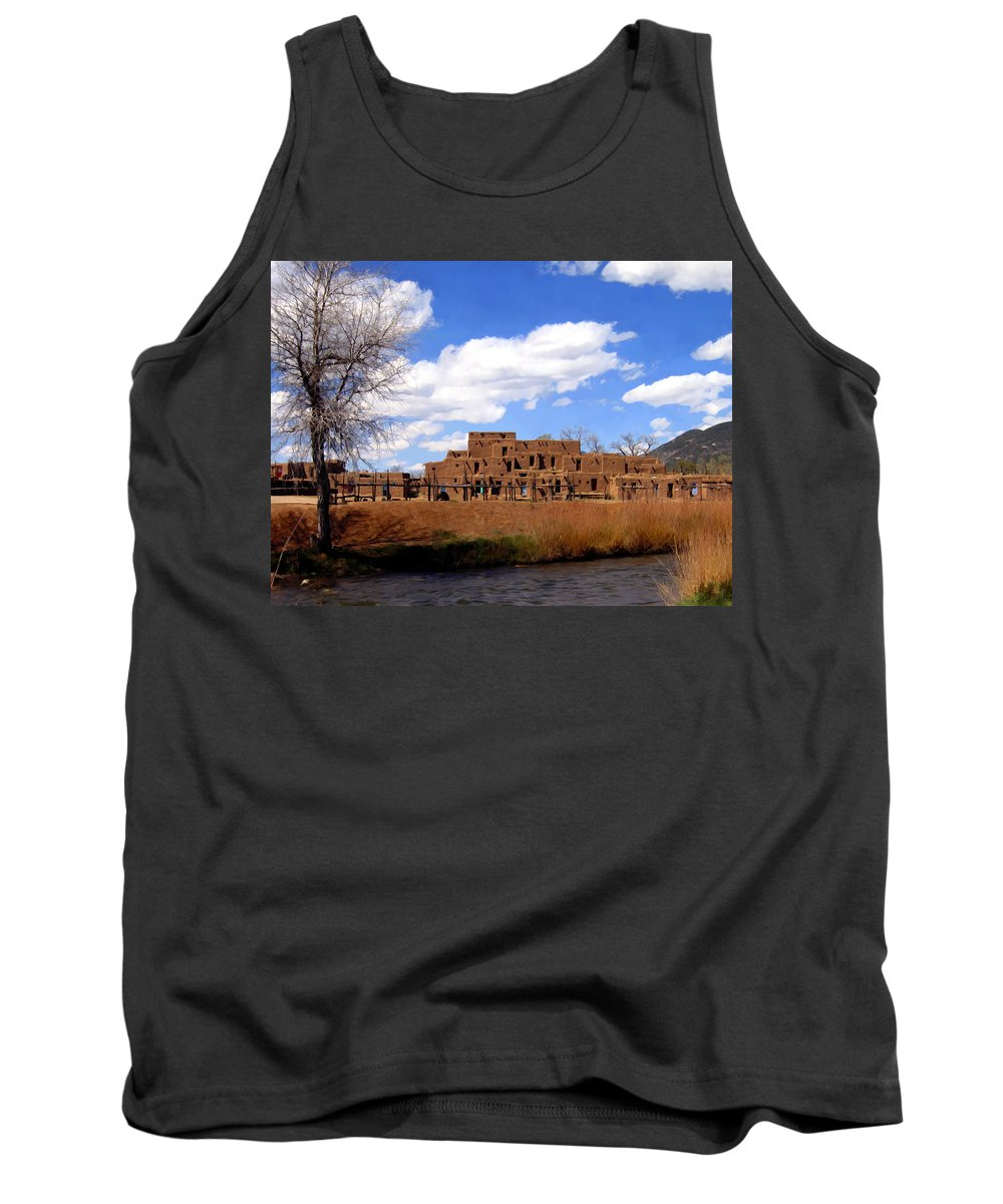 Taos Tank Top featuring the photograph Taos Pueblo Early Spring by Kurt Van Wagner