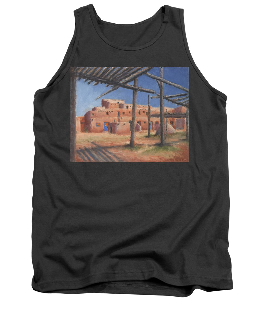 Taos Tank Top featuring the painting Taos Pueblo by Jerry McElroy