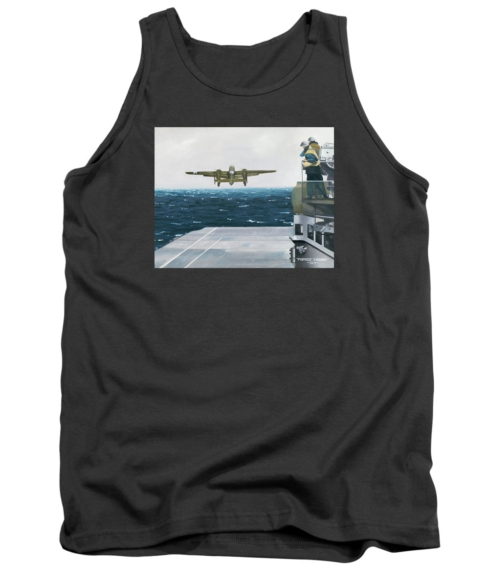 Aviation Tank Top featuring the painting Target Tokyo by Marc Stewart