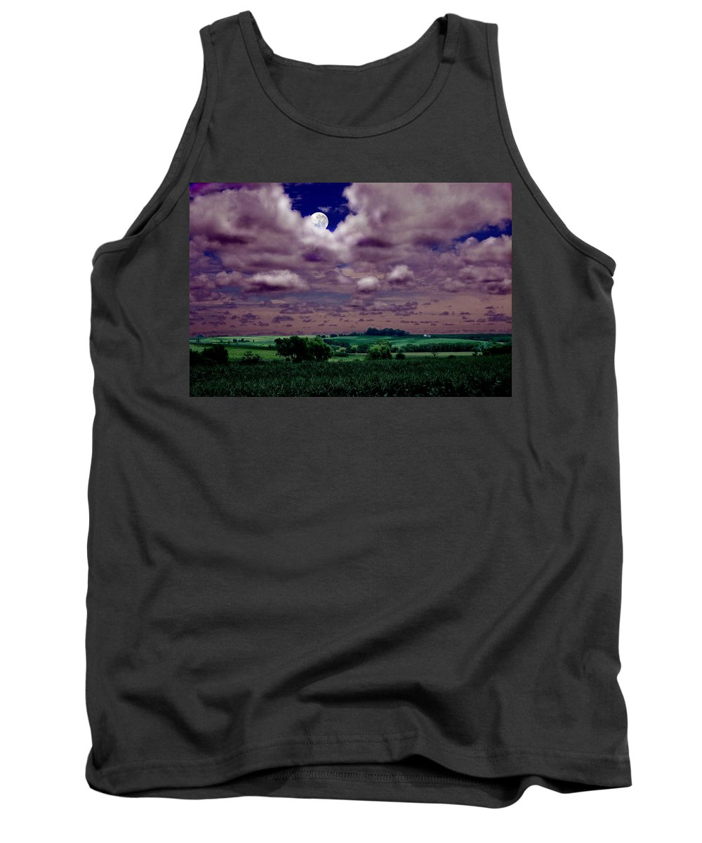 Landscape Tank Top featuring the photograph Tarkio Moon by Steve Karol