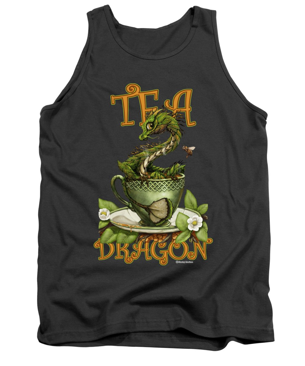 Tea Tank Top featuring the digital art Tea Dragon by Stanley Morrison