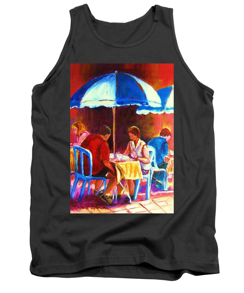 St. Denis Outdoor Cafe Montreal Street Scenes Tank Top featuring the painting Tea For Two by Carole Spandau