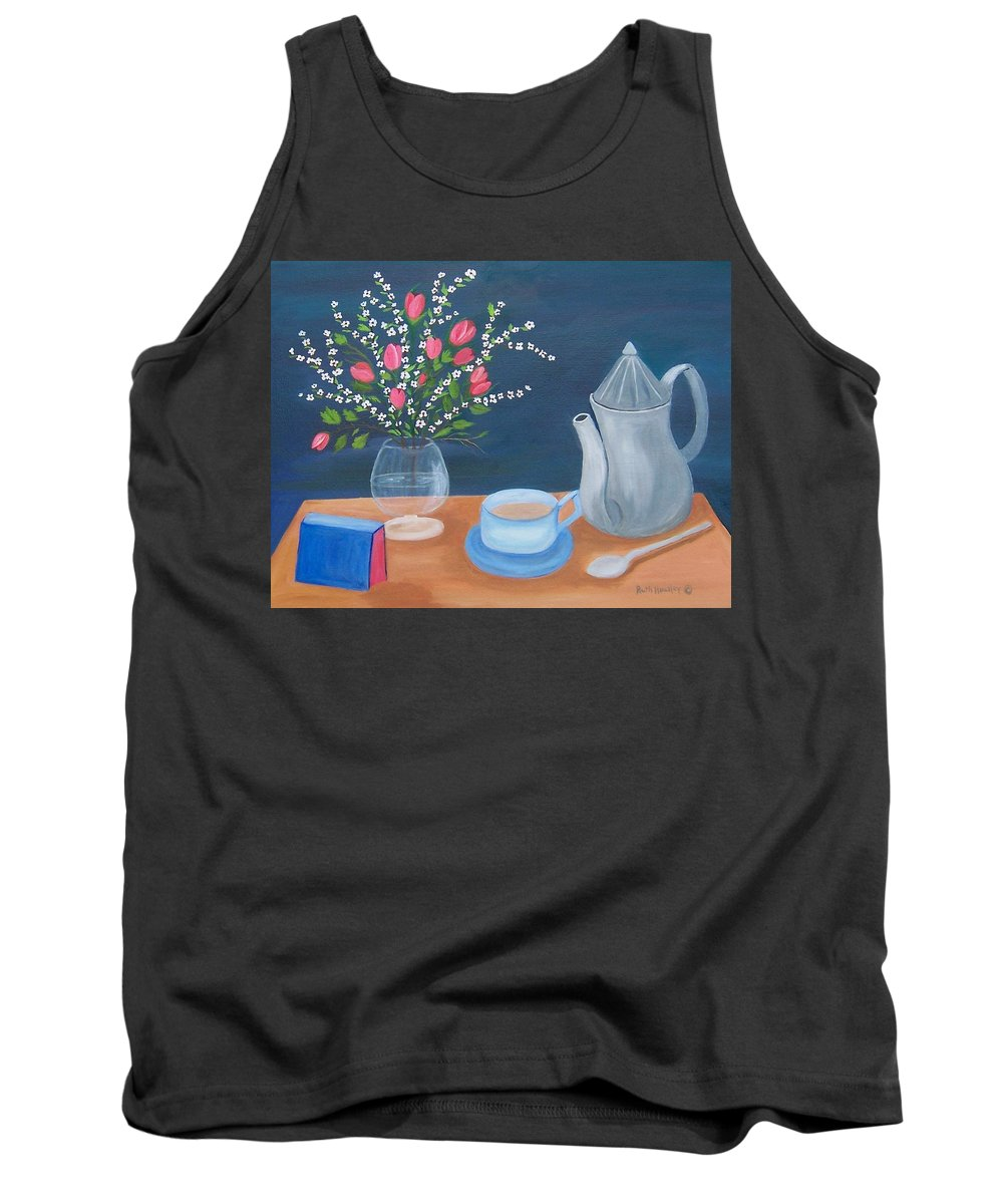 Still Life Tank Top featuring the painting Tea Time by Ruth Housley