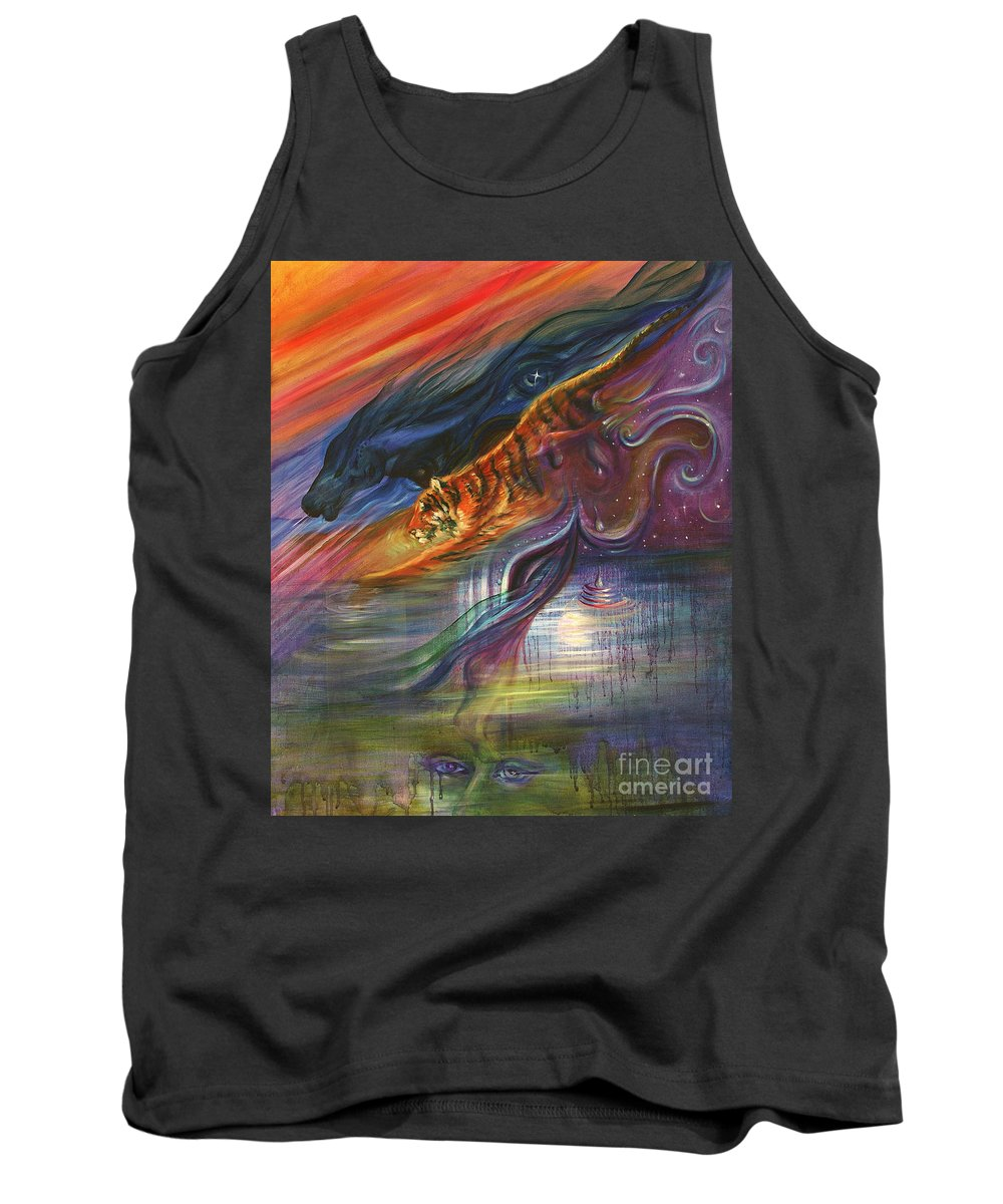 Animals Tank Top featuring the painting Tears Of The Tiger by Sofanya White