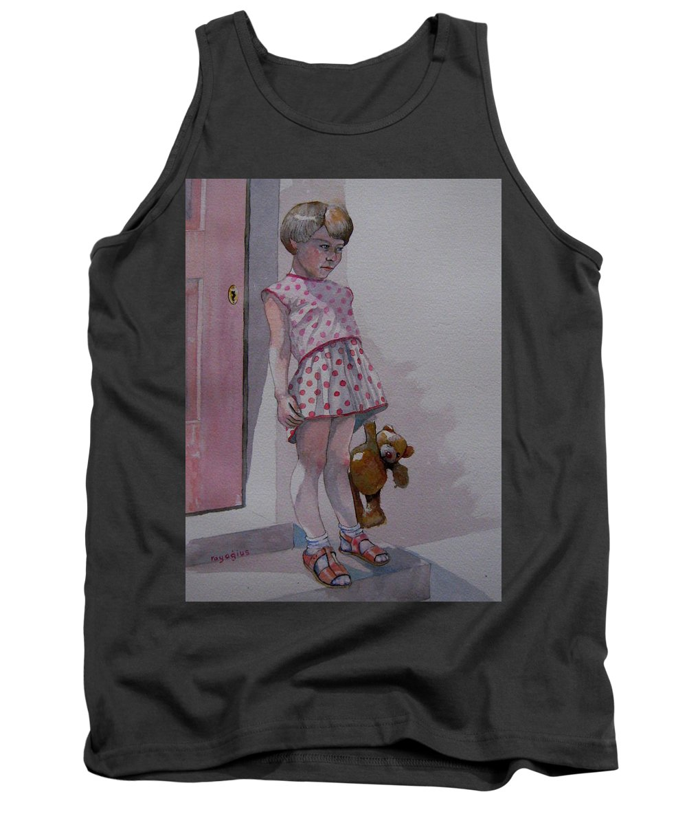Teddy Bear Tank Top featuring the painting Teddy by Ray Agius