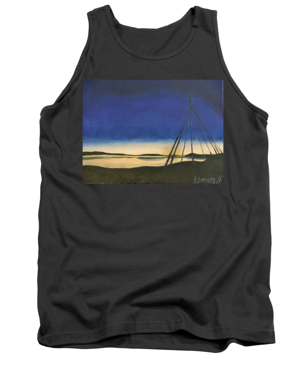 Teepee Tank Top featuring the painting Teepee Poles by Jeannette Sommers