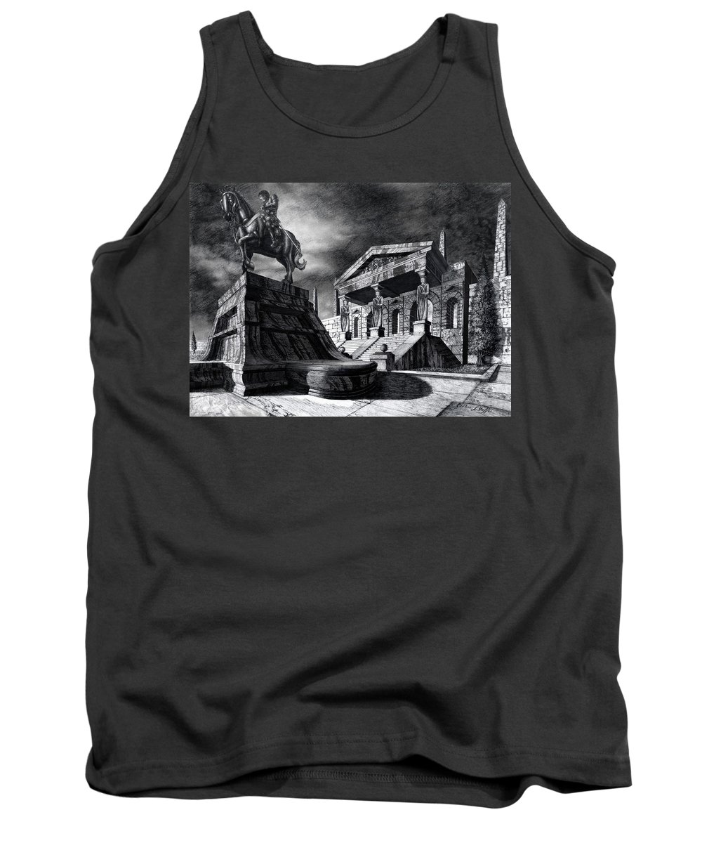 Greek Architecture Tank Top featuring the drawing Temple Of Perseus by Curtiss Shaffer