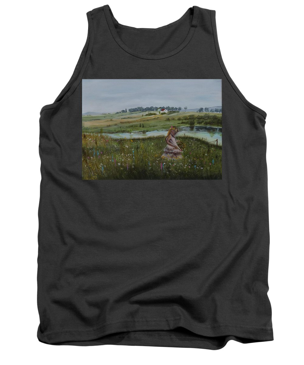 Impression Tank Top featuring the painting Tender Blossom - Lmj by Ruth Kamenev