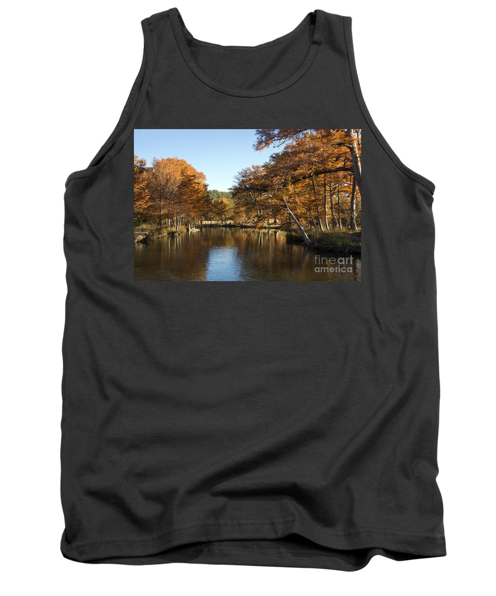 Hunt Texas Autumn Color Fall Colors Water Cypress Tree Trees Leaf Leafs Rock Rocks Reflection Reflections Guadalupe River Rivers Landscape Landscapes Waterscape Waterscapes Tank Top featuring the photograph Texas Autumn by Bob Phillips